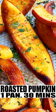 OVEN ROASTED PUMPKIN RECIPE- Quick and easy oven roasted pumpkin wedges, homemade with simple ingredients in one pan in 30 minutes. Loaded with cinnamon, garlic, Italian herbs, cinnamon. These wedges have the perfect texture that's soft but firm. Enjoy as side dish or use in salads. Delicious vegetarian side dish for Thanksgiving. From OnePotRecipes.com Thanksgiving Recipes, Fall Recipes, Easy Dinner Recipes, Appetizer Recipes, Cranberry Recipes, Appetizers, Vegetarian Side Dishes, Vegetarian Recipes, Veggie Dishes