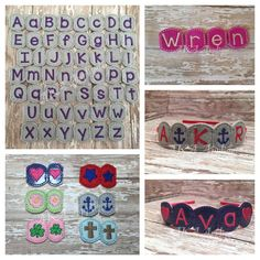 """ITH Letter Charm SLIDER™ Set with FREE Shape Charm Set 1 Embroidery Design This includes the Shape Charm Set 1 FREE for a limited time. The Letter Charm ITH Headband Sliders™ have files for 1/4"""" an..."""