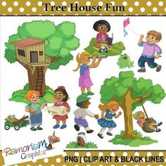 50% OFF till 30.3.15!! This set contains images of children having fun outdoors near a tree house they have built for themselves.Each image is PNG & 300dpi in Black & White, colored with colored outlines, colored with black outlines.