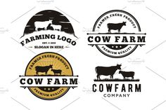 Ad: Vintage Cattle and Angus Emblem Labe by Buqancreative on Features Logo Template - Only 1 file : EPS vector) - Scalable Vector Files Easy to edit color - Text can not be changed - Ready to Gado, Farm Logo, Logo Templates, Design Templates, Cool Logo, Text Color, Cattle, Word Art, Free Food
