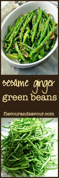 These sesame ginger green beans are tender crisp and a little spicy. A quick and easy side dish.