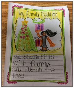 Students write about their family tradition. Would be a great take home project.
