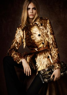 Burberry Regent Street Collection - gold feather trench coat