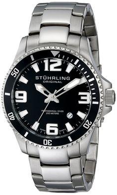 "Stuhrling Original Men's 395.33B11 ""Aquadiver Regatta Champion"" Swiss Quartz Stainless Steel Dive Watch"