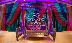 Suhaag Garden, Fort Lauderdale Marriott Coral Springs Hotel, Golf Club & Convention Center, Florida Indian Wedding Decorator, San Fransisco Indian Wedding Decorator, California Indian Wedding Decorator, Mehndi Stage, Sangeet Stage, Colorful Drapery, Bride and Groom Seating, Jhula, Swing