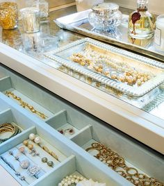 Beautiful Jewelry Organization. To avoid having your earrings slide around, store the gems in a compact and felt-lined home.