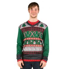 This Adult Ugly Christmas Sweater Shirt with Candy Canes has