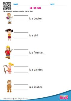 English pronouns worksheets for the kids of kindergarten with common core standa.,English pronouns worksheets for the kids of kindergarten with common core standards. Here the kids have to fill in the blanks & write each sentence us. Printable English Worksheets, Lkg Worksheets, English Worksheets For Kindergarten, Pronoun Worksheets, English Grammar Worksheets, Reading Comprehension Worksheets, Kindergarten Worksheets, Hindi Worksheets, English Grammar For Kids