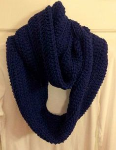Navy blue crocheted infinity scarf $14.95