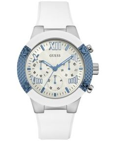 1c548eb7b46b6 GUESS Women s White Silicone Strap Watch 44mm U0772L3   Reviews - Watches -  Jewelry   Watches - Macy s