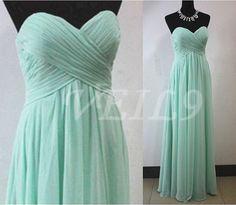 Turquoise DressTiffany Blue Chiffon Simple Bridesmaid by VEIL9