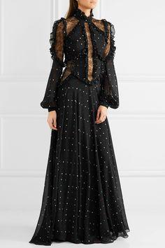 Elie Saab | Lace-paneled polka-dot silk-blend chiffon gown | NET-A-PORTER.COM