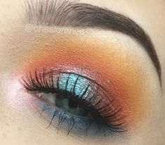 Can you tell sunsets majorly inspire me? sunset / makeup / juvia's place / masquerade / pallet / morphe35b / glitter / warm toned / orange / blue / eye / makeup / eyeshadow / fall / halo eye