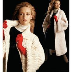Knit Coat Pattern via Vogue Knitting Knitting Stiches, Knitting Patterns Free, Free Knitting, Crochet Patterns, Lace Scarf, Crochet Cardigan, Knit Crochet, Coat Patterns, Vogue Patterns