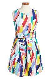 kate spade new york kids 'jillian' brushstroke print sleeveless dress (Toddler Girls & Little Girls)