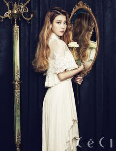 IU very beautiful and she was very beautiful voice and smile and eyes. She the best singer and danser in Korea. Iu Fashion, Asian Fashion, Marie Claire, Korean Girl, Asian Girl, Korean Artist, Vogue, Girl Day, Kpop Girls