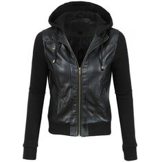 LE3NO Womens Faux Leather Moto Bomber Jacket with Fleece Hoodie ($28) ❤ liked on Polyvore featuring outerwear, jackets, bomber jacket, fleece collar jacket, faux leather jacket, faux leather bomber jacket and flight jacket