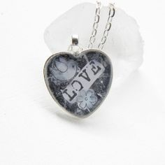 Love Heart Pendant Resin Pendant Heart Necklace by KenziesCottage, $15.00