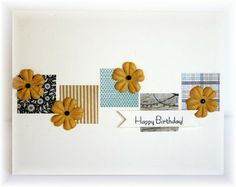 The card - just some squares of patterned paper, plus some prima flowers and an added sentiment.