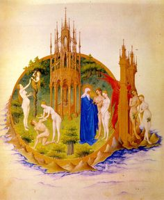 Hermanos LIMBOURG , La caída y expulsión del Paraíso, Horas del Duque de Berry, 1415-16, Musée Condé, Chantilly
