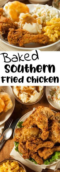 This baked southern fried chicken is just like Grandma used to make...only without the grease dripping down your elbows. Enjoy!   #TotallyTheBomb #friedchicken #recipe #baked #southern #grandmashouse #oven #healthier #tasty #nom