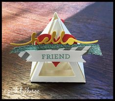 Stampin' Up Pyramid Pals Thinlit box with special door alteration
