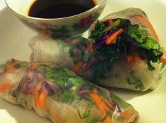 Quick Fix Thai Salad Rolls With Two Dipping Sauces, by everyone is vegan