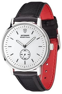DETOMASO Milano Classic Men's Quartz Watch with White Dial Analogue Display and Black Leather Bracelet Dt1072-C