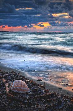 Spring sunset in Aegean sea