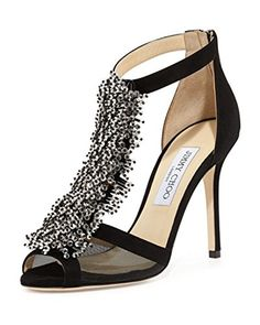 Jimmy Choo Womens Black feline Crystal Bead Suede Mesh Panel Sandals Size 8US -- Check out this great product.(This is an Amazon affiliate link)
