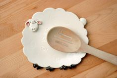 White sheep spoon rest or trinket dish