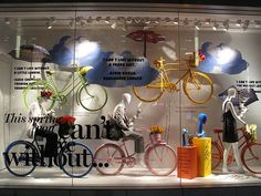 Bicycle window display at department store in Vancouver