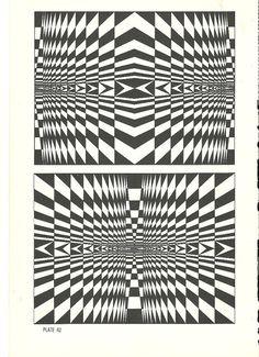 vintage print optical illusion art book plate