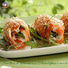 Involtini di salmone con Philadelphia e rucola-ricetta antipasti
