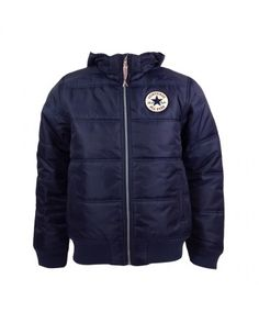 62e0c996648b Youths Converse Navy Hooded Puffa Jacket - Was . Now + Free Delivery! Squared  Clothing