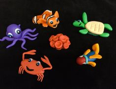 Items similar to Set 5 Under the Sea Creatures Cake Toppers Octopus Fishes Turtle Crab on Etsy Creature 3d, Fondant Cake Toppers, Sea Creatures, Under The Sea, Turtle, Fish, Unique Jewelry, Handmade Gifts, Kid Craft Gifts