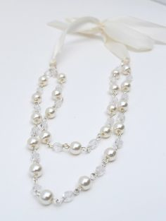 White Ribbons and Pearls Necklace by YourGirlishWhims on Etsy