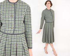 50s Green Houndstooth Wool Suit Pleated by GlennasVintageShop
