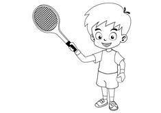 Dibujo para colorear de un niño jugando al tenis