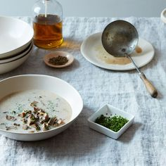 Creamy Mushroom Soup recipe on adds depth by making a reinforced stock simmering the mushroom stems in chicken broth. Creamy Mushroom Soup, Mushroom Soup Recipes, Creamy Mushrooms, Easy Soup Recipes, Stuffed Mushrooms, Cooking Recipes, Food52 Recipes, Cooking Ideas, Fall Recipes