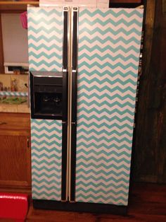 Refrigerator makeover. Chevron turquoise. Contact paper