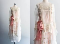 Edwardian Tulle Wedding/ Dinner Dress With Pink Slip