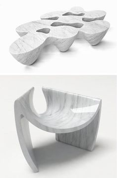 Emmanuel Babled - Marble Design Quark Coffee Table (above) and Sunshare Chair (below) Coffee Table To Dining Table, Coffee Tables, Plascon Colours, Milan Furniture, Shape And Form, Decorative Bowls, Concrete, Marble, Objects