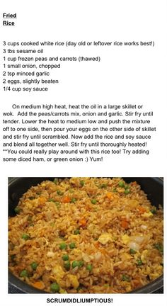 Fried Rice - could add chicken or shrimp as well.