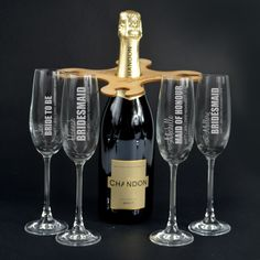 Engraved Wooden Bridal Party Butler Set With Complimentary Champagne Glasses