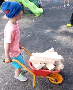 Children with a transporting schema are interested in transporting themselves and objects from one place to another.