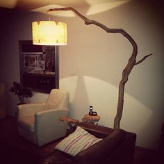 Unique: Floor Lamp / arc lamp, weathered old Oak branch on black natural stone base, including cord with dimmer switch and round lampshade made of