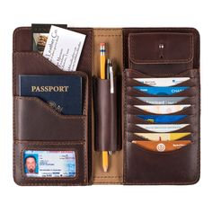 mens large leather wallet in chestnut leather with passport, payment card and business card
