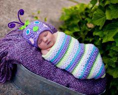 Caterpillar Bug Hat and Cocoon Newborn Photo by MadhatterknitsCo