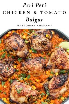 This healthy one pan Peri Peri Chicken and Tomato Bulgur is a super easy meal to make, absolutely brimming with nutrition. You will love how this hearty dish has a hint of zest, sweetness and a kick of spice! It is perfect to add to your fall and winter meal rotation! #bulgur #periperichicken #chickentomatorecipe #dinner @simshomekitchen | simshomekitchen.com Chicken Recipes With Tomatoes, Chicken Skillet Recipes, Kitchen Recipes, Cooking Recipes, Healthy Recipes, One Pot Meals, Easy Meals, Peri Peri Chicken, Best Instant Pot Recipe